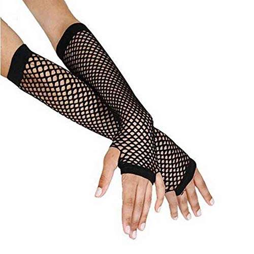 YUANYUAN520 Punk Goth Lady Disco Dance Costume Lace Fingerless Mesh Fishnet Guanti Donna Nero