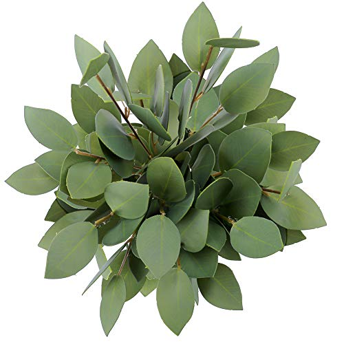 Greentime 8 Pack Artificial Greenery Stems Faux 13 Inches Greenery Eucalyptus Heart-Shaped Leaves for Bridal Wedding Bouquet Table Centerpiece Christmasr Party Decor