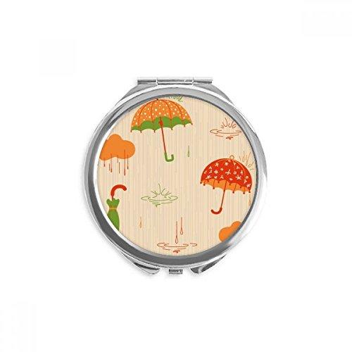 DIYthinker Wolke Regenschirm-Regen Drip Wetter Spiegel Runde bewegliche Handtasche Make-up 2.6 Zoll x 2.4 Zoll x 0.3 Zoll Mehrfarbig