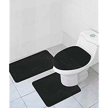 3 Piece Bath Rug Set Pattern Bathroom Rug (20 x32 )/large Contour Mat (20 x20 ) with Lid Cover (Black)