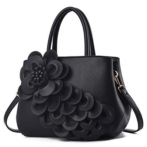Mn&Sue Ladies Top Handle Satchel 3D Flower Women Elegant Handbags Pu Leather Crossbody Tote Purse (#2 Black)