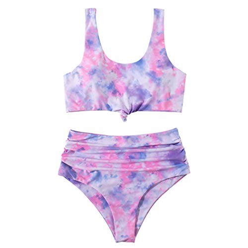 SUUKSESS Knot High Waisted Swimsuits for Women Scoop Neck Tankini Sets (M, Pink Tie Dye)