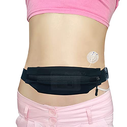 Adult Insulin Pump Belt Big Expandable Pouch Diabetic Pump Holder with Hole for Tubing Adjustable Medical T1D Band Accessories for Medtronic Tandem Dexcom Glucose Monitor Epipens Men Women