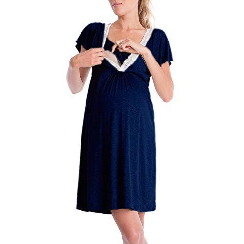 Mujer Manga Corta Vestido Premamá Embarazada Color Sólido Encajes Suelta Ropa de Dormir Camisón Vestido de Maternidad Verano Casual Lactancia Pajama (Armada, M)