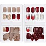 GejoyJuego de 60 uñas postizas, 12 tamaños, 2 cajas, cobertura completa, incluye palillo, para...