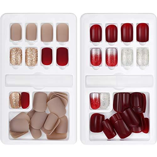 GejoyJuego de 60 uñas postizas, 12 tamaños, 2 cajas, cobertura completa, incluye palillo, para decoración de uñas, manicura, , ,  Rojo oscuro, rosa pálido, champán.,, ]