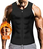 Mens Sauna Waist Trainer Corset Vest with Zipper for Weight Loss Hot Sweat Neoprene Body Shaper Gym Workout Tank Top (Black Body Slimming Vest, 3XL)