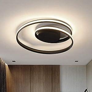 OKES LED Ceiling Light,Modern Ceiling lamp,14''Round led Flush Mount Light Fixtures Acrylic Black LED Chandelier for Dining Room,Kitchen,Bedroom,Living Room, dimmable/3000-6000K