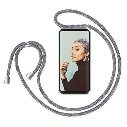 ZhinkArts Handykette kompatibel mit Samsung Galaxy S9 - Smartphone Necklace Hülle mit Band - Handyhülle Case mit Kette zum umhängen in Grau