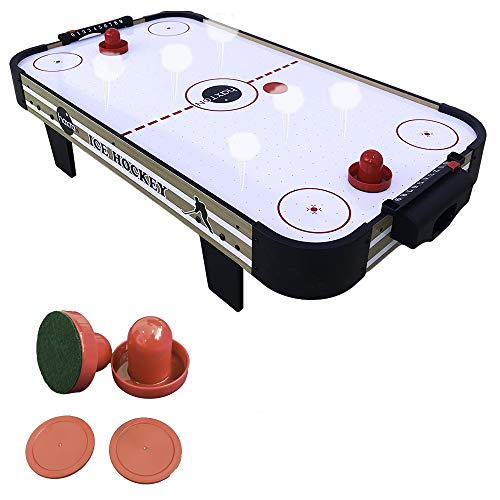 haxTON Mini Air Hockey Table Game, Tabletop Air-Powered Hockey Set for Kids with 4 Pucks, 2 Pushers,- Fun Arcade Games