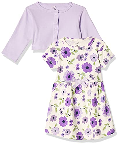 Touched by Nature Baby Girls' Organic Cotton Dress and Cardigan, Purple Garden, 2-Toddler