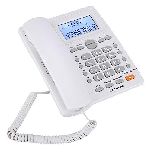 KX-880CID Telefono con Filo con Vivavoce e Display ID chiamante, Set di Estensione a Due Porte Telefono Fisso per casa/Hotel/Lavoro/Ufficio.(Bianca)