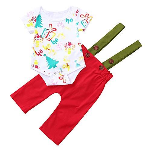 Transer Infantile bébé Fille garçon Manches Courtes Noël Cartoon Print Combinaison Combi-Short + Bretelles Strap Pantalon Outfit (18 Mois, Rouge)