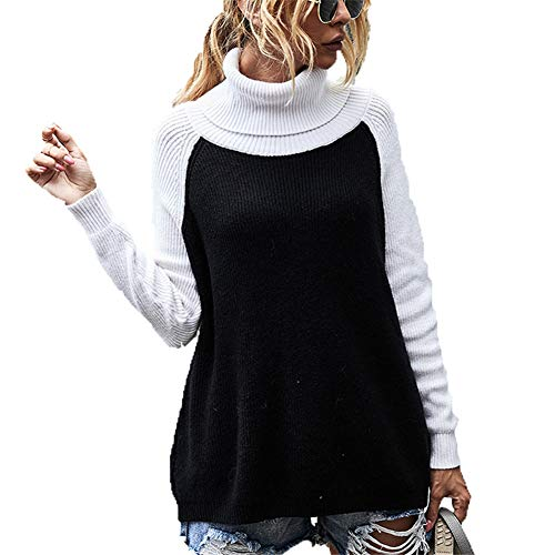 ZFQQ Fall/Winter Women's Tops Turtleneck Solid Color Sweater Black