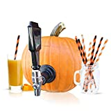 Party On Tap Pumpkin Tapping Kit - Keg Spout for Halloween, Thanksgiving, or Pumpkin Party Decorations - Includes Paper Straws
