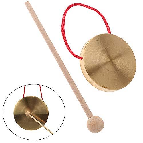 Handgongs Becken aus Messing und Kupfer, Original Tam Gong,Percussion mit Hammer,10cm/4inch Schlagzeug Schlagwerk