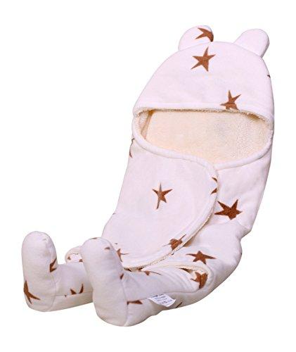 Ambrosya® | Kuschelweicher Strampler für Babys aus Fleece | Baby Babydecke Babystrampler Bett Bettdecke Erstlingsdecke Jahreszeiten Kinderdecke Kissen Kuscheldecke Strampler Tagesdecke (Weiß)