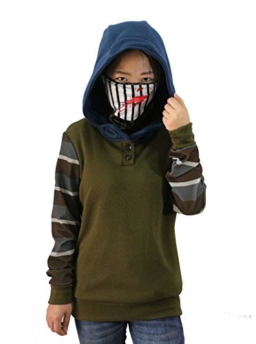Uyecos Cosplay Hoodie Ticci Toby Women's Thicken Pullover Jacket Sweater Cosplay Costume (L, Army Green)