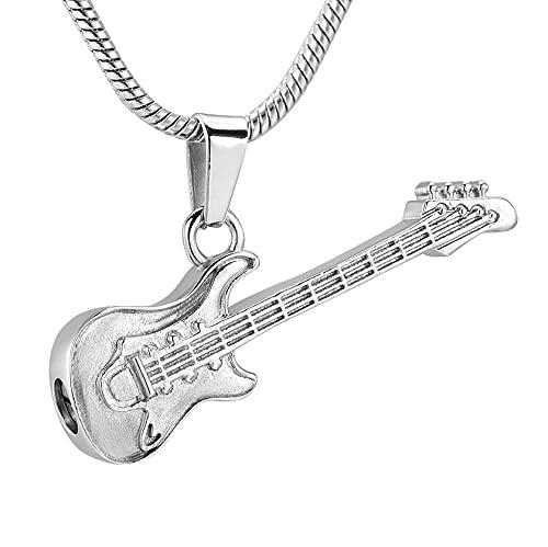 BHSICSACLJ Collar de joyería Joyería de cremación de Guitarra electrónica para Colgante de Cenizas Collar de Urna Conmemorativa de Acero Inoxidable para Mujeres y Hombres
