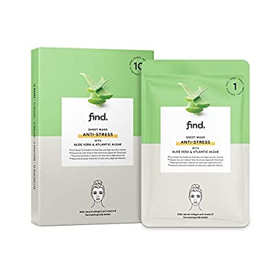 FIND - Antistress Hydrogel, Drip-Free Sheet Mask with Aloe Vera and Atlantic Algae - 10 Pack from Amazon Eu Sarl