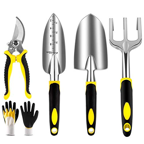 YAOBLUESEA Garten Werkzeug Set 5 Stück, Gartengeräte Set Aluminiumlegierung Garten Werkzeug Set mit Handkelle, Pflanzmaschine, Handrechen, Schaufel, Unkrautgabel
