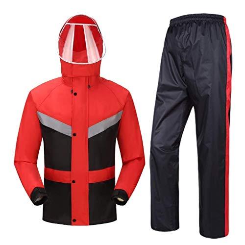 YDS SHOP Waterdichte 2-delige set voor mannen en vrouwen (regenjas + broek), ultralicht pak/windbescherming/borststreflexstrepen, geschikt voor werken in de open lucht XXXL