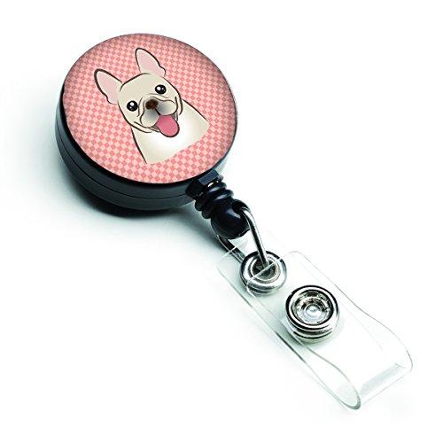 Caroline's Treasures BB1238BR Checkerboard Pink French Bulldog Retractable Badge Reel, Belt Clip, Multicolor