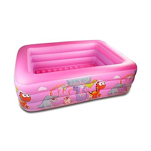 WNSS9 Piscina para niños Pink Family, Piscina Inflable Rectangular sobre el Suelo, bañera Inflable de 3 Anillos, Piscinas centrales para niños, Material de PVC Duradero, tamaño: 130 * 90 * 50 cm