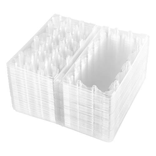 BSETONZON 50 Pcs 18 Grids Small Quail Hen PVC Stackable Egg Storage Box/Transparent Egg Dispenser Holder Case Refrigerator Egg Protection Box for Family