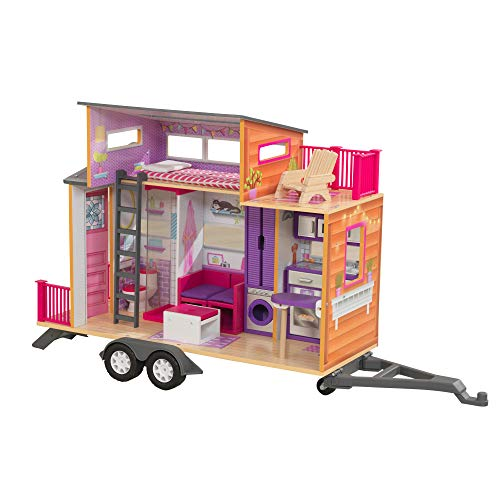 KidKraft 65948 Teeny House Wooden Dolls House with furniture and accessories included, 2 storey play set for 30 cm / 12 inch dolls