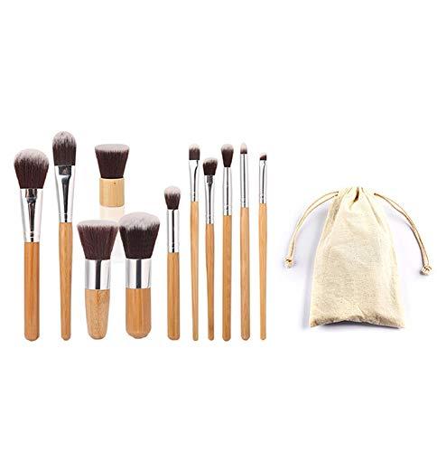 Ensemble de pinceaux de maquillage à poignée en bambou Fondation Kabuki Mélange de fard à joues Correcteur pour les yeux Poudre liquide Crème Kit de pinceaux cosmétiques avec sac en toile de jute