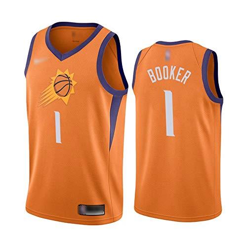 ATI-HSKJ Phoenix Suns Basketball-Trikots # 1 Devin Booker Männer Basketball Westen Orange Fans Classic Retro Sweatshirt Schnell Trocknend Jersey BH163,2XL:185cm~190cm