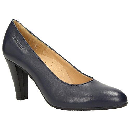 Zweigut® -Hamburg- smuck #215 Damen Leder Pumps Nappaleder Sommer Business Schuhe Komfort Laufsohle, Schuhgröße:42, Farbe:Nachtblau