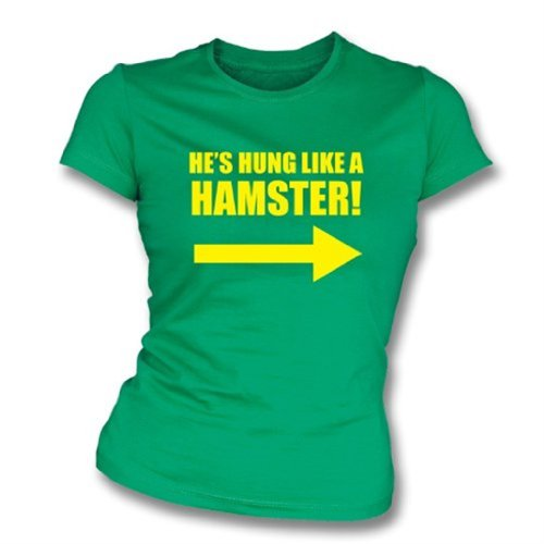 Hung Like camiseta del ajustado de una muchacha del hámster, color Kelly Green