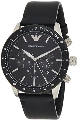 Emporio Armani Herren Chronograph Quarz Uhr mit Leder Armband AR11243