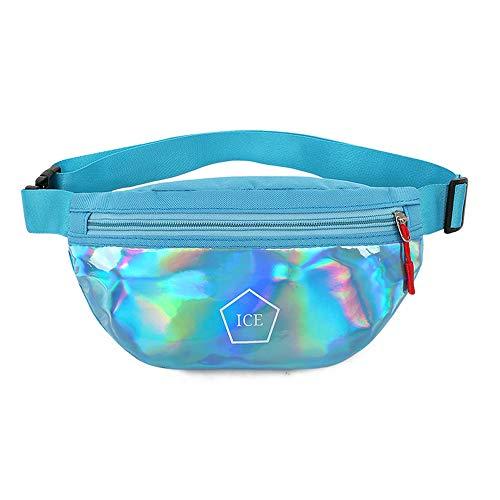 Korean Style Shiny Bling Sporting Fanny Pack Waist Bag Double Zipper Crossbody Purse Shoulder Bag for Woman & Girl (Blue)
