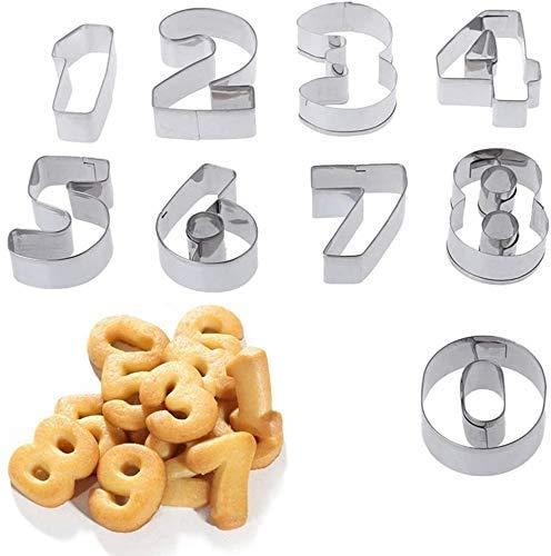 KingYH - Juego de 9 cortadores de galletas de 0 a 8 números, moldes de acero inoxidable para postres para fiesta de cumpleaños, aniversario, masa, galletas, decoración de pasteles