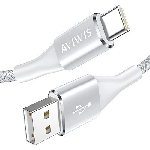 AVIWIS USB C Kabel, 1M USB C Ladekabel Fast Charge Sync Schnellladekabel 3A USB Typ C Kabel Kompatibel für Samsung Galaxy S20 S10 S9 A51 A20e, Huawei P30 Lite, Xiaomi Note 8 Pro, OnePlus - Silber