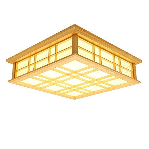 LYXG Lampes LED japonais en bois massif lampes plafonnier tatami (450mm*450mm*120mm), lumière chaude
