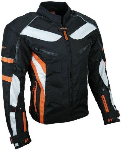 HEYBERRY Textil Motorrad Jacke Motorradjacke Schwarz Orange Gr. L