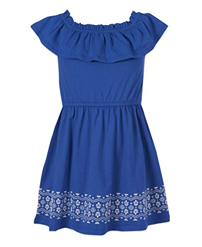 Nautica Girls' Off Shoulder Fashion Dress, Border Sea Blue, M8/10