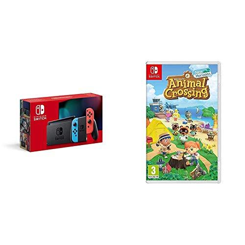 Nintendo Switch - Consola Estándar, Color Azul Neón/Rojo Neón + Animal Crossing: New Horizons