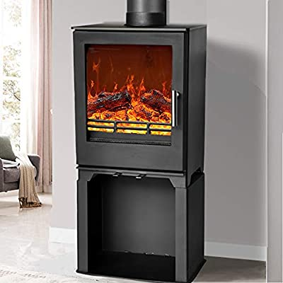 NRG 5KW High Efficiency Multifuel Woodburning Stove Eco Design WoodBurner Fireplace with Log Store Defra Approved