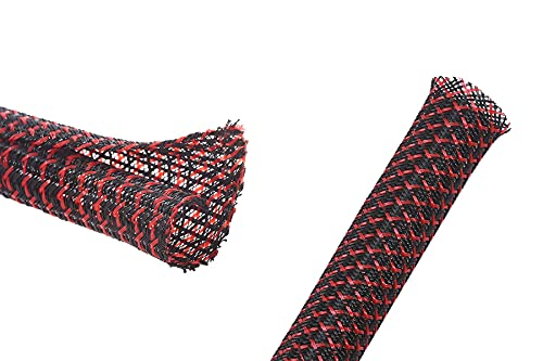Alex Tech 10ft - 1/2 inch Split Sleeving and 100ft - 1/2 inch Expandable Sleeving BlackRed