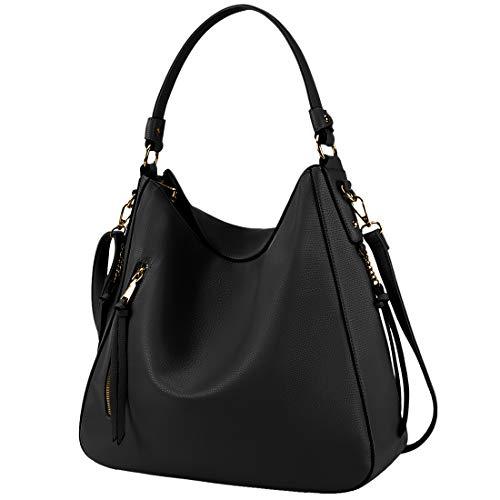Hobo Handbags for Women Large Waterproof Leather Purses Ladies Tote Satchel Purse Shoulder Bag,Black