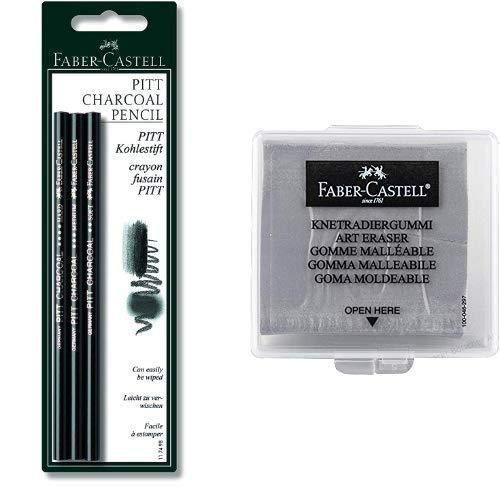 Faber-Castell 117498 - Kohlestift PITT fettfrei, 3er Packung & 127220 - Knetradiergummi Art Eraser, grau