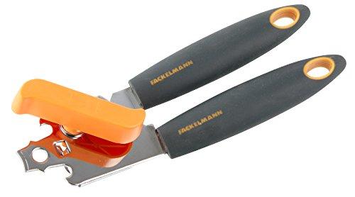 Fackelmann Dosenöffner 20 cm SOFT, praktischer Konservenöffner mit verchromten Funktionsteil, Universalöffner mit rutschfestem und ergonomischem Soft-Touch-Griff aus Kunststoff (Farbe: Orange/Grau), Menge: 1 Stück