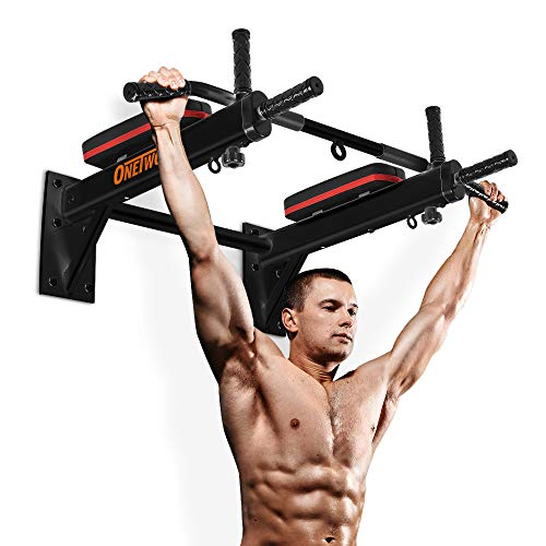 ONETWOFIT Pull Up Bar Wall Mounted Chin Up Bar Home Gym Body Workout Bar for Indoor and Outdoor Use, Maximum Weight 330lbs OT066R
