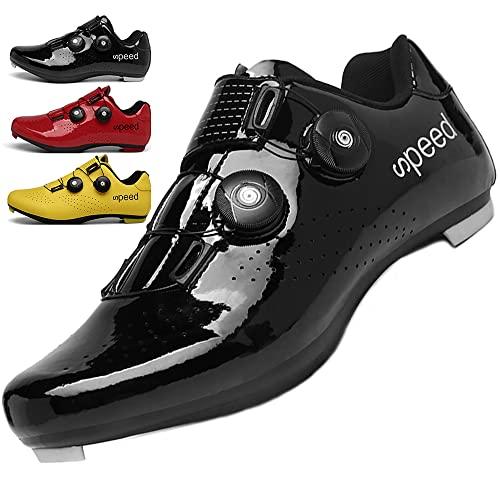 KUXUAN Calzado de Ciclismo Hombre Mujer con Bloqueo Zapatos Bicicleta de Carretera Calzado eléctrico Calzado Deportivo de Ciclismo,Black-46EU