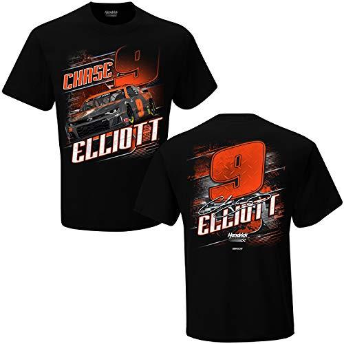 Checkered Flag Sports Chase Elliott 2020 Hooters NASCAR Camber Black T-Shirt (2XL)